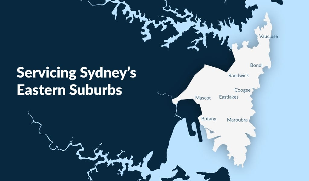 map of sydney and the eastern suburbs area that Curtis Strata Cleaning Sydney operates in
